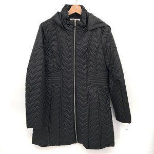 NWT Via Spiga Zigzag Quilted Detachable Hood coat